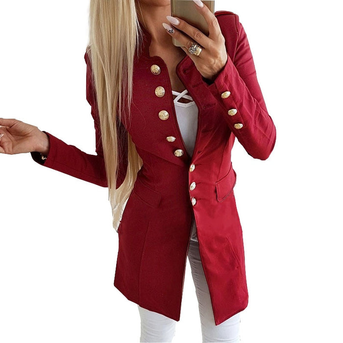 VenusFox Solid Long Button Sleeve Outerwear Coat
