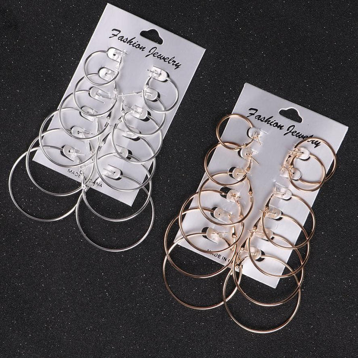 women 6Pairs/set Vintage Metal Silver Gold Big Circle earrings