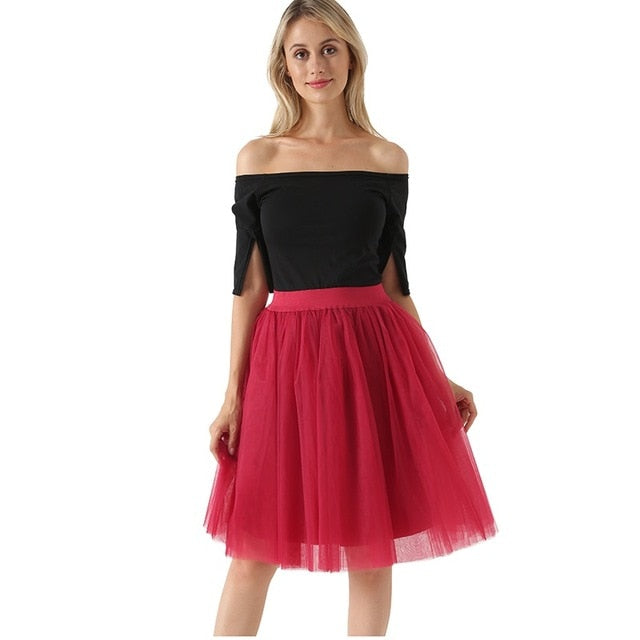 VenusFox Lolita 5 Layers Tulle Bridesmaids Midi Skirt