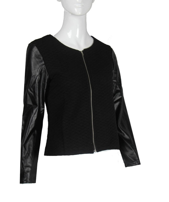 VenusFox Punk Style Zipper Crop Basic Leather Jackets