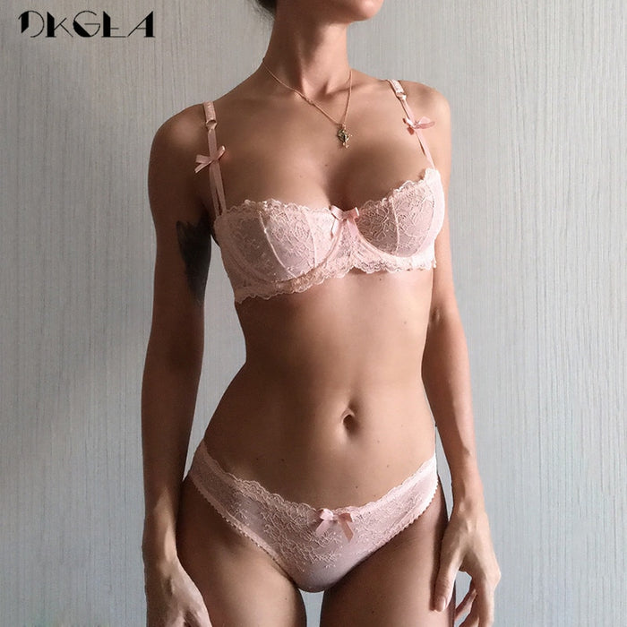 VenusFox Ultrathin lace embroidery underwear bra set