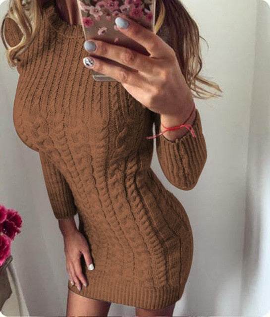 VenusFox Long Sleeve Knitted Sweater Bodycon Dress