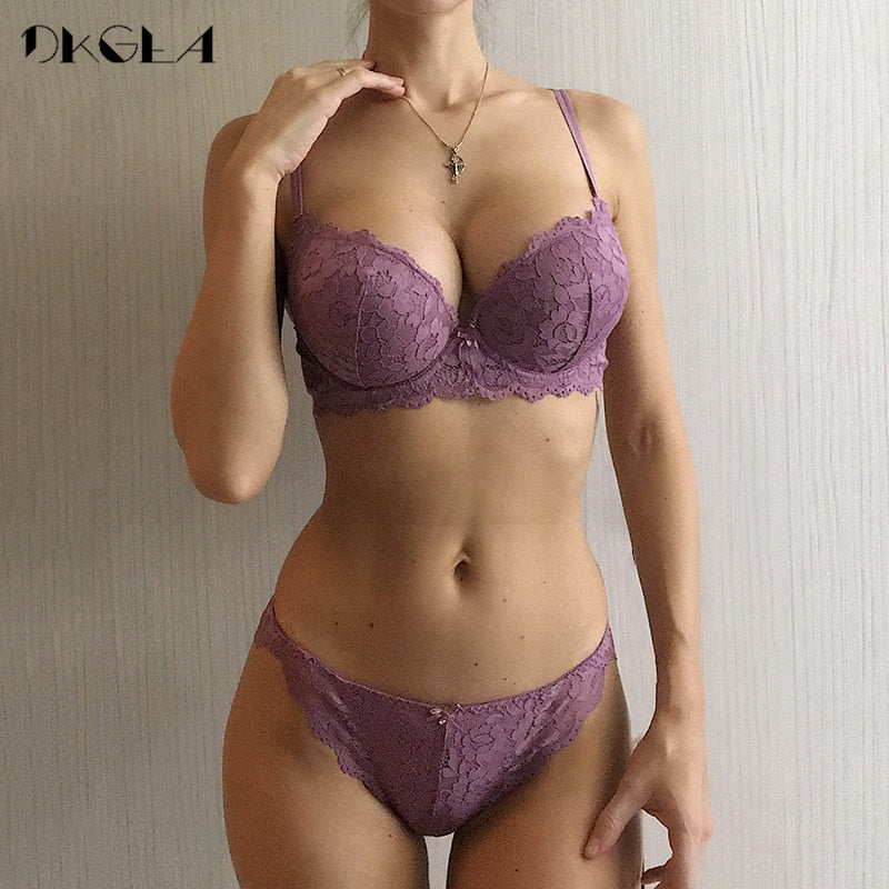 VenusFox Sexy Embroidery Push Up Bra Set