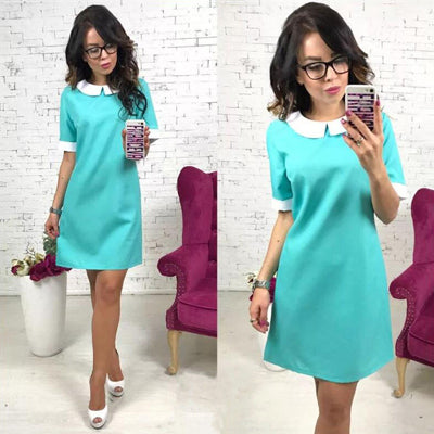 VenusFox Short Sleeve Solid Colors Above-knee Summer Dress