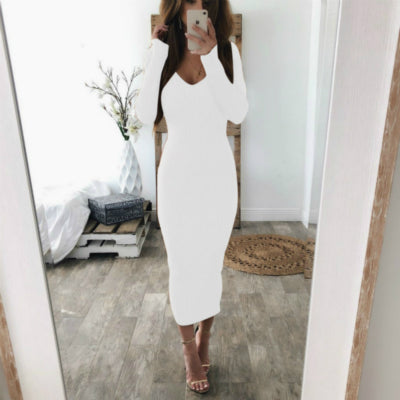 VenusFox  Knitted Long Sleeve V Neck Bodycon Maxi Dress