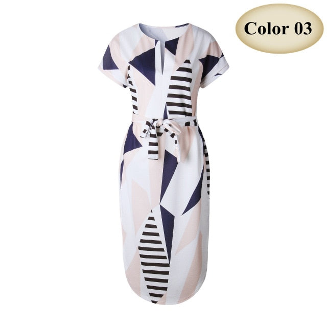 VenusFox Causal V neck Maxi Geometric Vintage dress With Belt