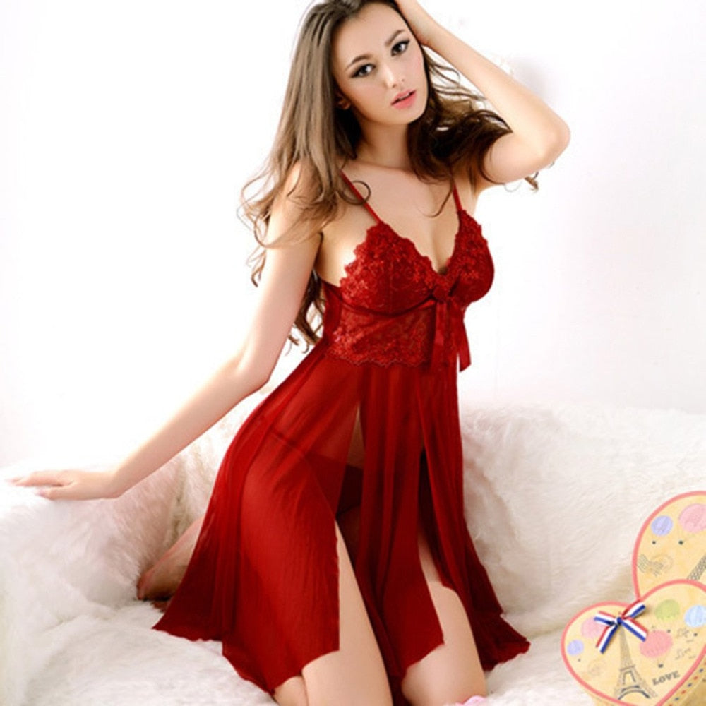 VenusFox Red Lace Nightdress Knee-Length Lingerie
