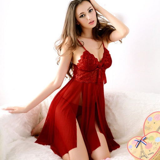 Sexy Red Lace Nightdress Knee-Length Lingerie for the Beautiful Girl You truly Are.