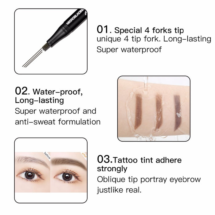 3 colors microblading eyebrow tattoo pen  Natural Long Lasting  Waterproof  Eye brow Pencil