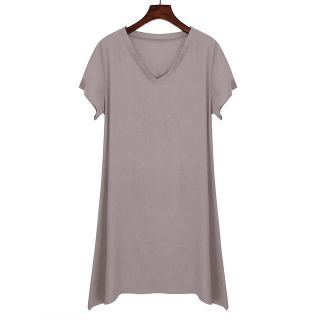 VenusFox Short Sleeve Loose Causal Dress