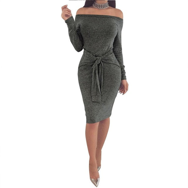VenusFox Off Shoulder Waistband Midi Dresses