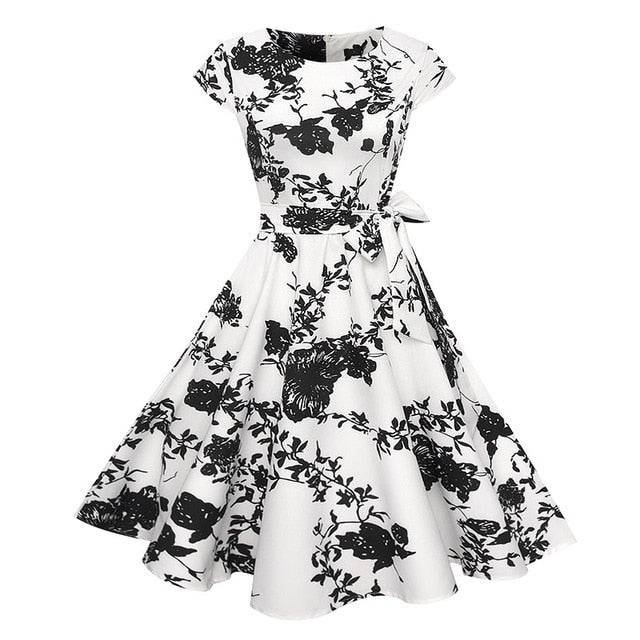 VenusFox Floral Dress 50s Vintage Casual Elegant Print O-Neck Party Work Office Dress