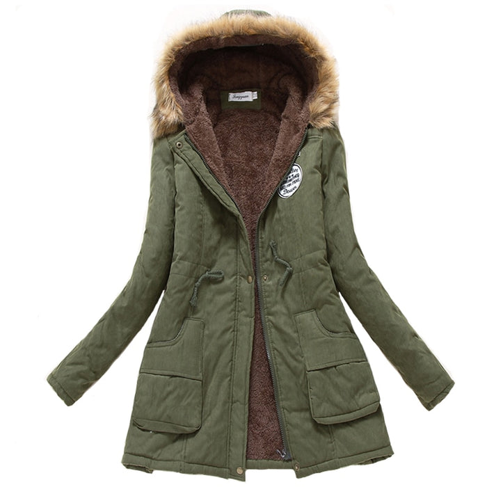 VenusFox long warm hooded cotton fur basic jacket plus size