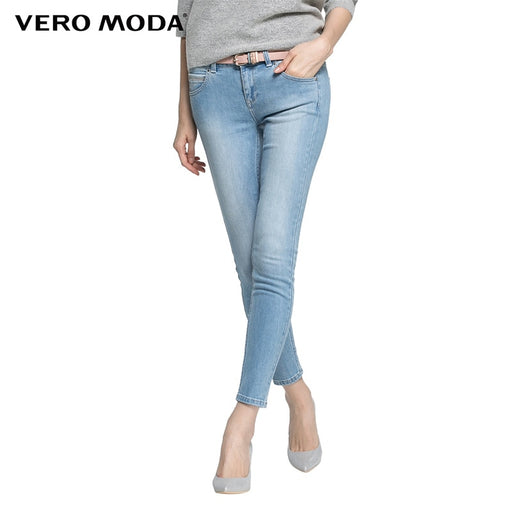 Vero Moda elastic slim fit jeans sashing grinding white ninth pants