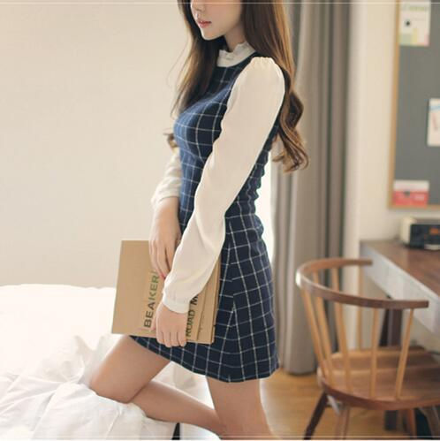 VenusFox Plaid Full Sleeve Patchwork Mini Dress Women