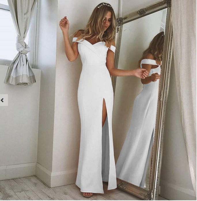 VenusFox Women's Off Shoulder Casual High Waist Long Maxi Dresses Sexy Skinny Slim Party Evening