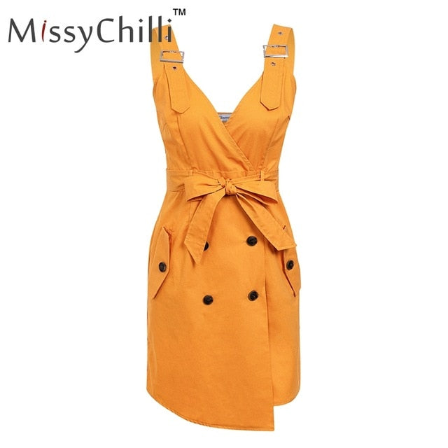 VenusFox Elegant casual backless Sexy button belt summer dress