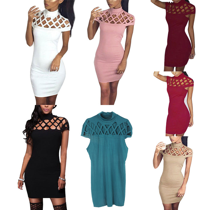 VenusFox Turtle Neck Sexy Skinny Cut Off Black Mini Bodycon Hollow Out Mesh Slim Dresses Club Dress