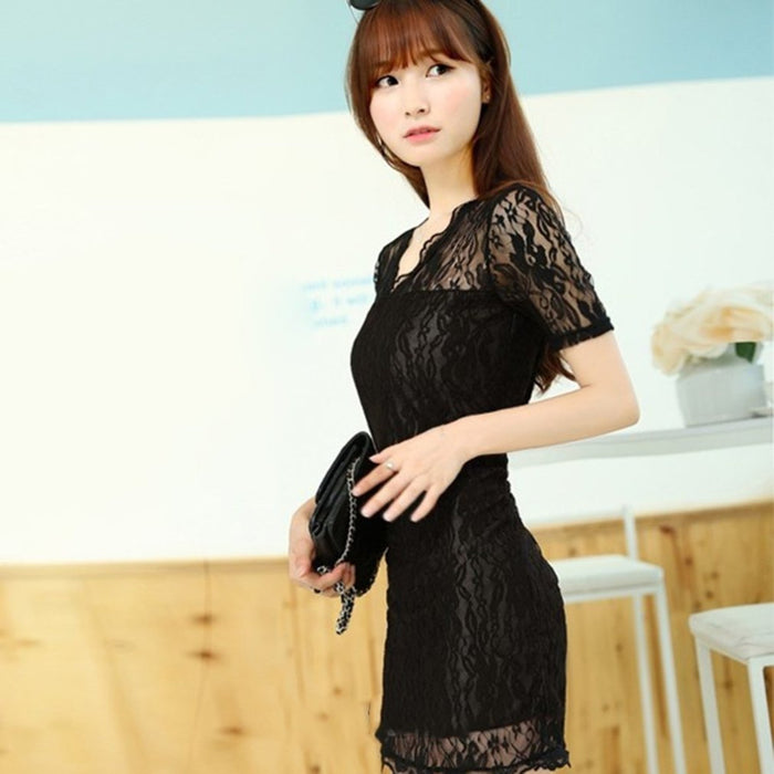 VenusFox Black Short Sleeve Tassel Mini Lace Dress