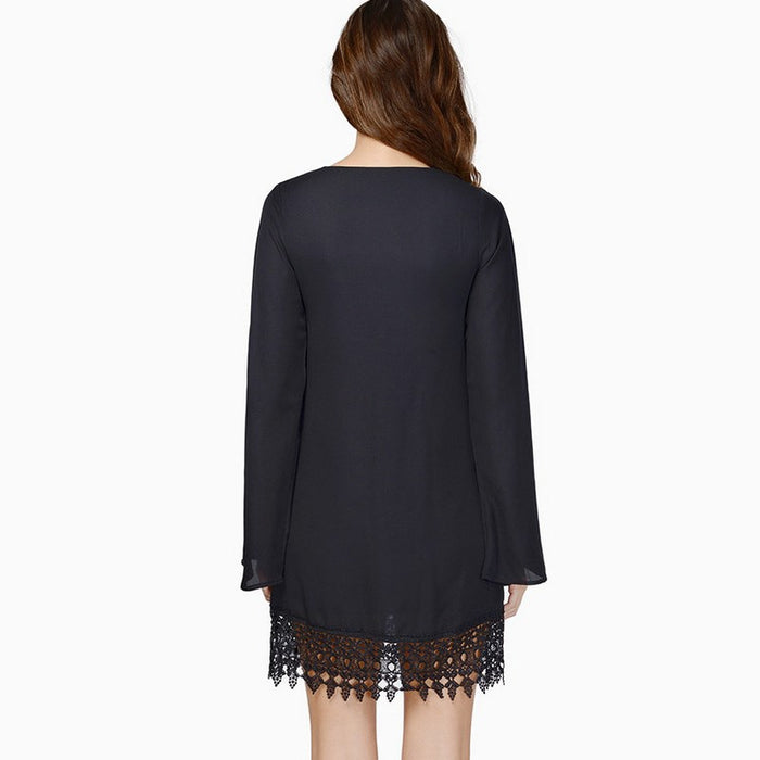 VenusFox Long Sleeve Dress Casual O-neck Lace Party Dresses