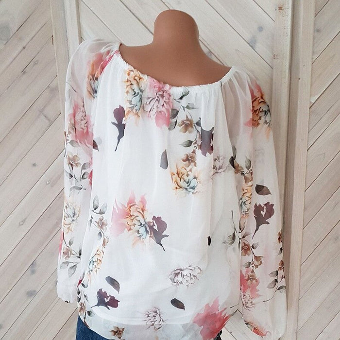 VenusFox Chiffon Full Sleeve O-Neck Print Retro Loose Casual Tops Shirt