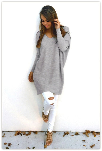 VenusFox Autumn Winter Sweater Round Neck Loose Long Sleeves Pullover Knit Sweater