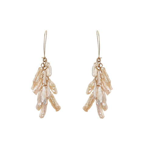 Pearl and gold chandelier earrings by Gabriella Luchini jewellery