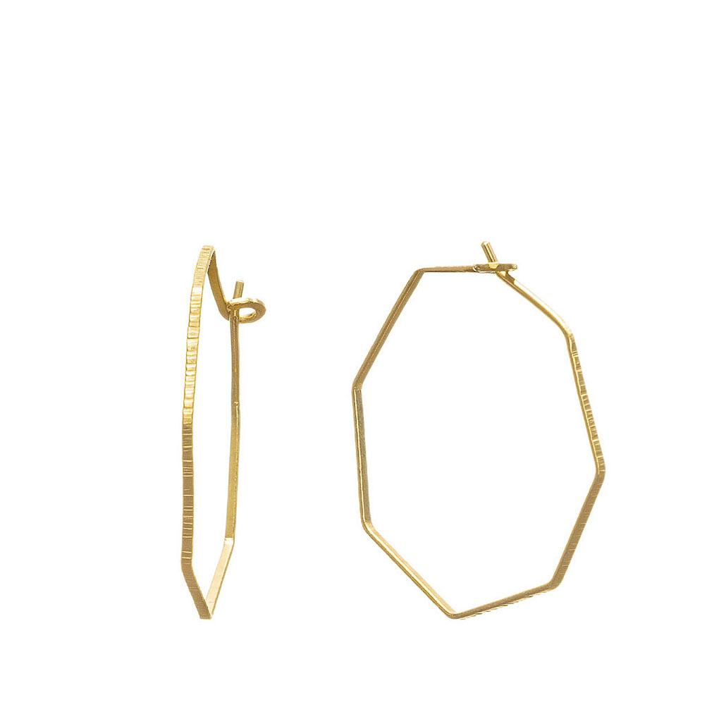 Solid 9ct gold Hexagon hoops