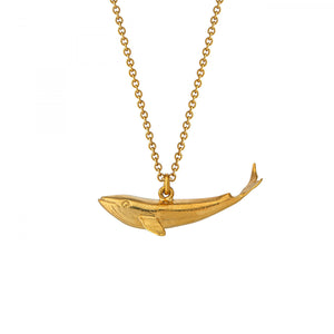 Baby blue whale necklace, gold