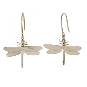 Dragonfly hook earrings, silver