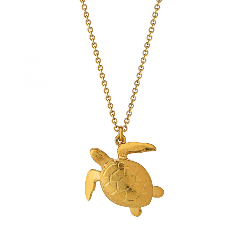 Sea turtle necklace, gold