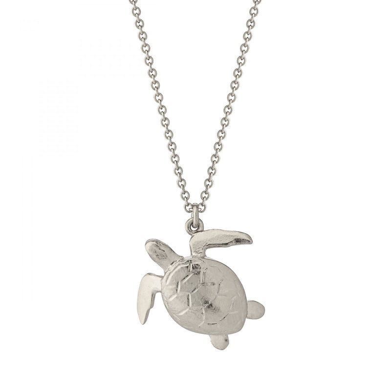 Sea turtle necklace, silver