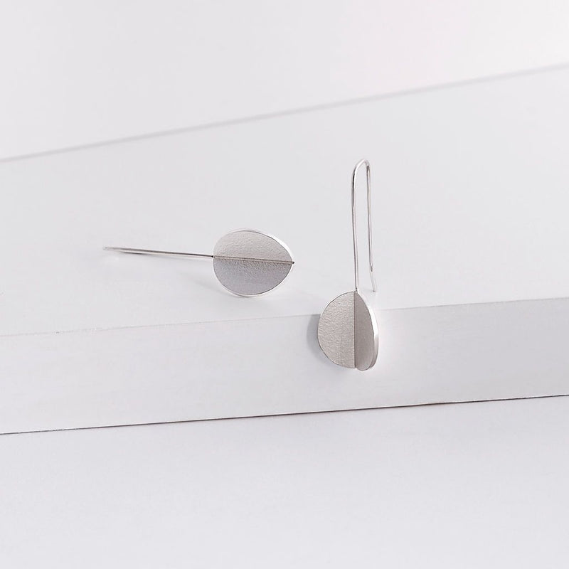 Folded form earrings, silver