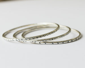 Textured silver bangle