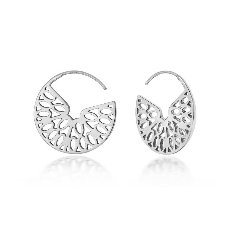 Seville hoop earrings, silver