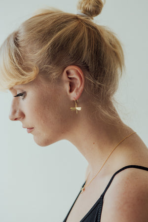 Dragonfly hook earrings, gold