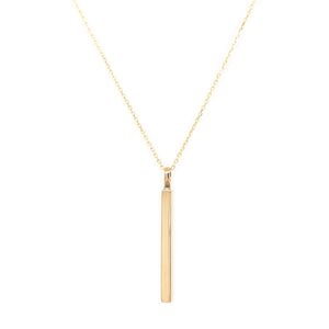 Solid 9ct gold vertical bar necklace