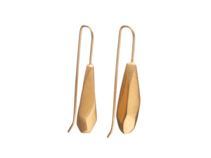 Faceted drop earrings, gold