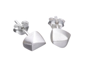 Faceted stud earrings, silver