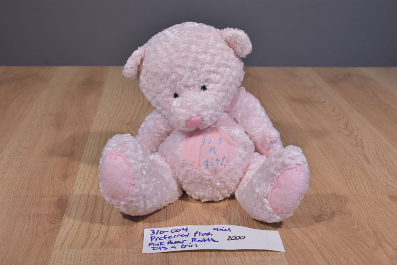 Preferred It's A Girl Pink Teddy Bear Rattle 2000 Beanbag Plush