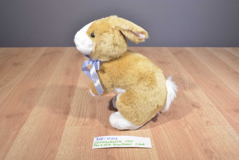 Commonwealth Tan and White Bunny Rabbit with Purple Bow 1999 Beanbag Plush