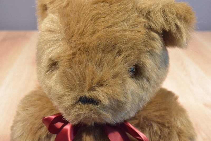 Brown Teddy Bear With Red Bow Plush