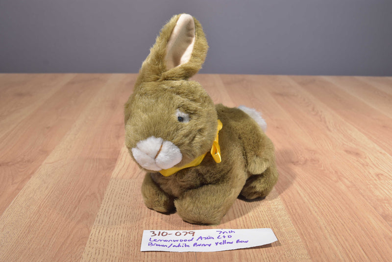 Lemonwood Asia Brown and White Bunny Rabbit with Yellow Bow Plush