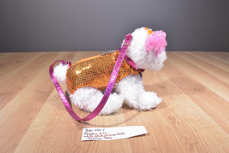 Poochie and Co. White Pink Terrier Orange Sequins Plush Bag Purse