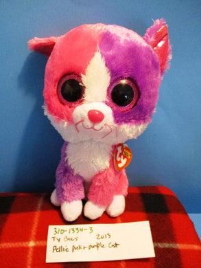 Ty Boos Pellie Pink Purple White Cat 2015 plush(310-1334-3)