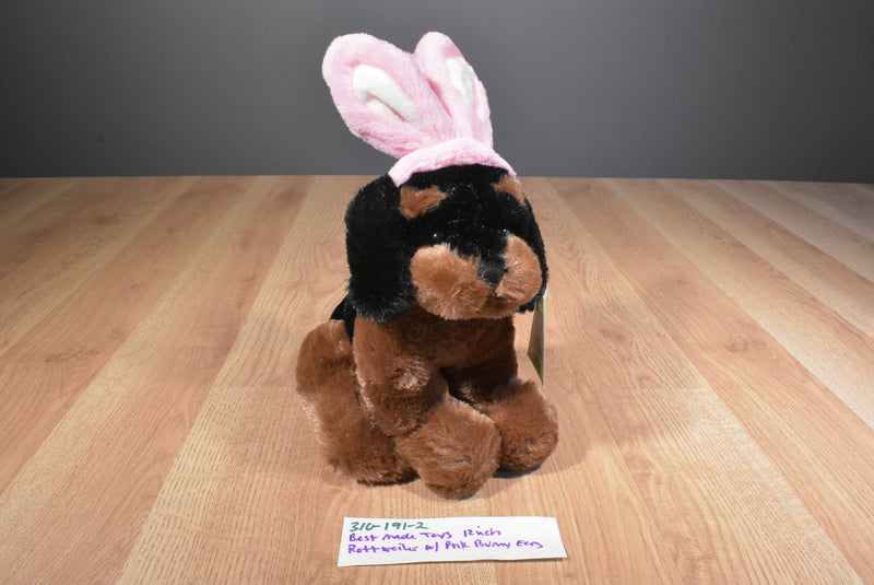 Best Made Toys Black Tan Rottweiler Puppy Pink Bunny Rabbit Ears 2010 Plush