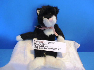 Boyd's Ernest Black /White Jointed Cat w/ Pink Bow 1985 Plush