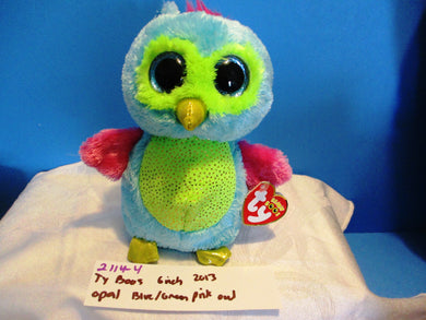 Ty Boos Opal the Owl(blue  green pink gold) 6 inch 2013 plush(310-2114-4)