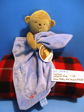 Carter's Child of Mine Brown Monkey With Blue Security Blanket
