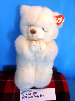 Ty Classic 1995 Faith White Praying Teddy Bear Plush(310-2925)